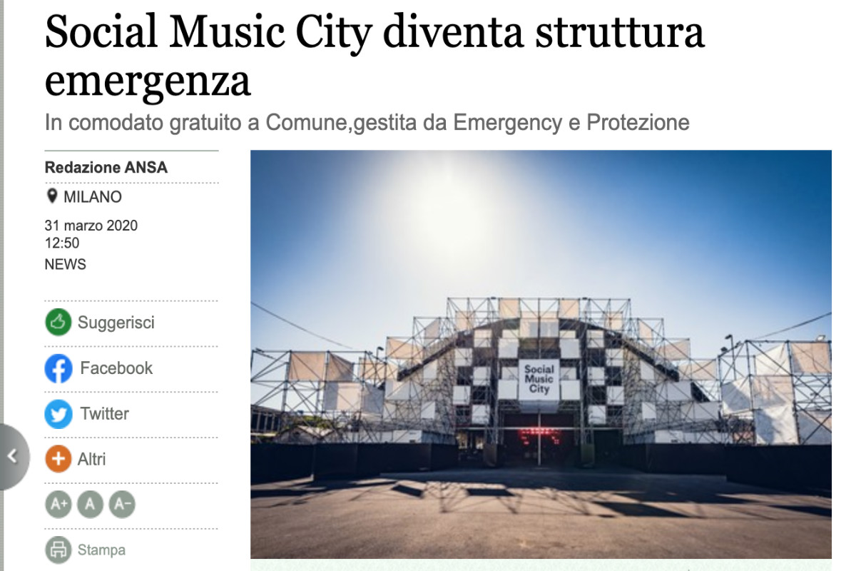 Social Music City contro il Coronavirus. La news Ansa
